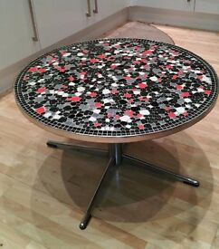 Unique colourful mosaic round coffee table