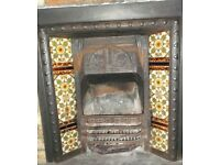 Fireplace, cast iron, Victorian, floral tiles, v.g. condition. H 86cm, W 91cm, depth 14cm.