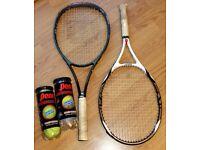 2 Tennis racquets and 4 balls - Wilson K Factor