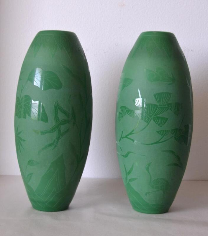 Pair of Antique 1920s Chinese Etched Green Peking Glass Vases