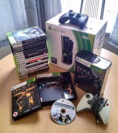 Xbox 360 Elite 250GB in box + 19 Games + 2 Controllers + Battery Charger | Excellent Condition