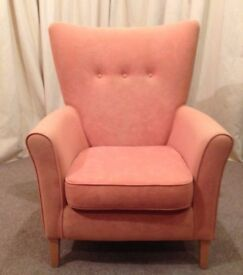High Wing Easy Chair Peach Shackletons Armchair Stylish Design Sturdy Quality - See Delivery