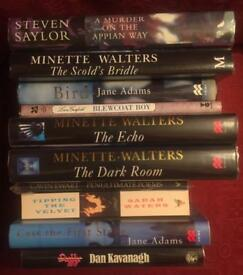10 first edition signed fiction books in fine condition. Steven Saylor, Minette Walters etc