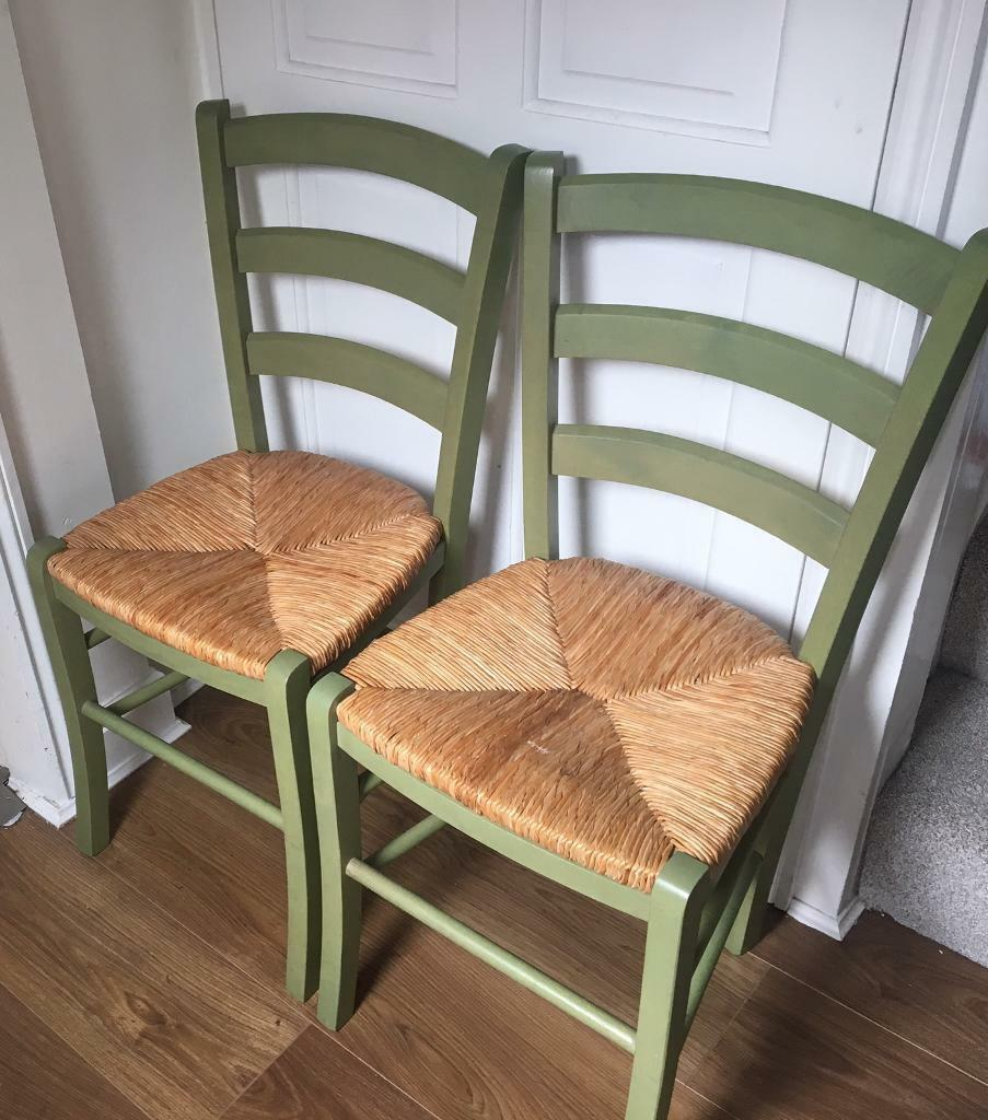 2 X Olive Green Painted Wooden Dining Chairs Wicker