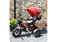 FABULOUS TODDLER RED TRICYCLE WITH SUNSHADE BAG BELL & EXTRAS USED ONCE