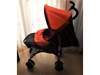 fisher price pram / pushchair , lies flat ,sits up has front swivel wheels very good condition