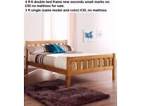 3 ft single and 4 ft 6 double bed frames