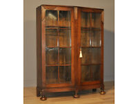 Attractive Large Vintage Art Deco Carved Oak Double Glazed Door Bookcase Cabinet