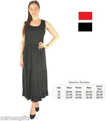 - PLUS SIZE TIERED MAXI DAY EVENING WEAR SLEEVELESS DRESS 4X 5X  BLACK  RED