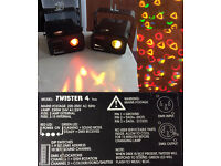 Pair of Halogen Abstract Twister 4 1ce disco lights, Cables & Brackets.