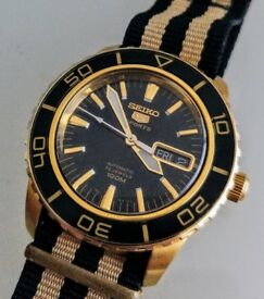 Seiko Gold Plated watch SNZH60K1 with custom NATO strap (and original bracelet)