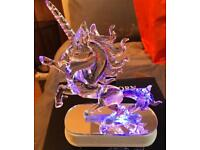 Led unicorn colour changing with mirror on base