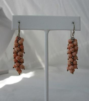 Coral Earrings 10K Gold Chandelier Antique Retro Art Deco Wedding Jewelry