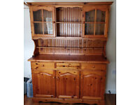 Vintage Solid Pine Glass Fronted Dresser