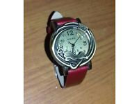 New red leather strap cat styled watch