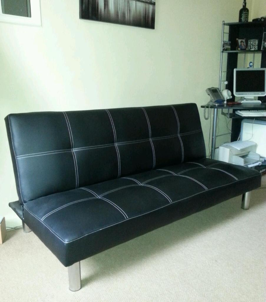 Black faux leather sofa bed in walton le dale for Black sofa bed