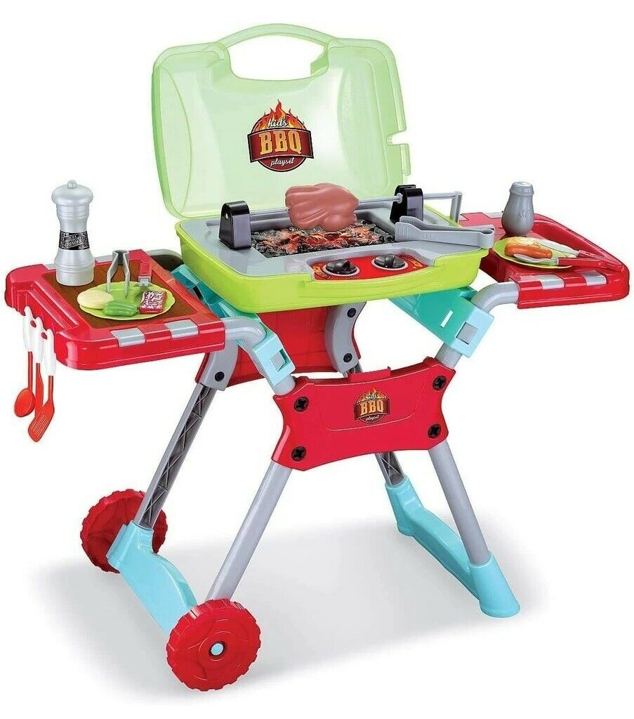 Deluxe Kitchen BBQ Pretend Play Grill Set W/ Light And Sound Set Cook Kids Fun Kitchens