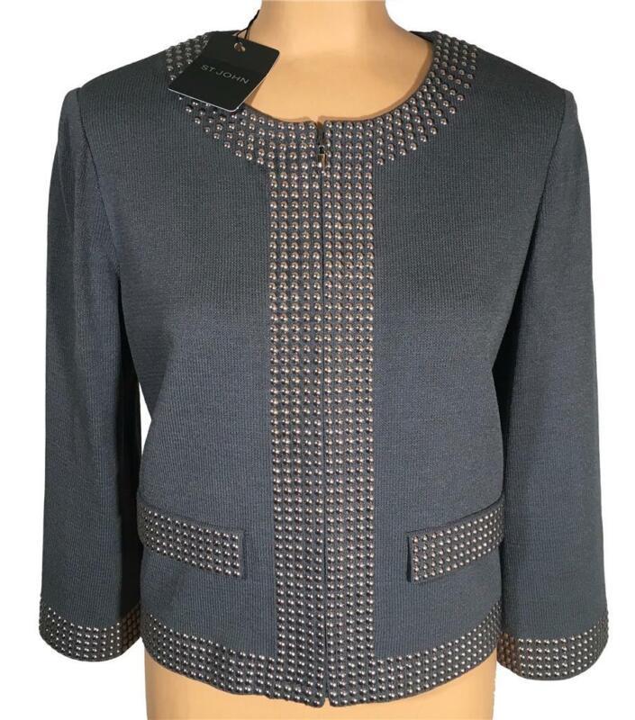 NWT ST. JOHN Knits Flint Santana Knit Sequined Topper Jacket Blazer sz 16 $1395
