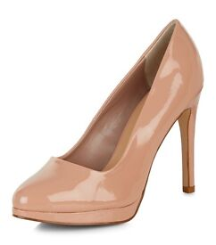 New Look- Ladies Stone Patent Pointed Court Shoes Size 6 Brand New £10.00