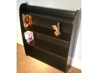 Solid Oak Retro/Vintage Black Bookcase 2 FixedShelvesCurved Edge H35.5in/89cmD8.5in/21cmW30.5in/77cm