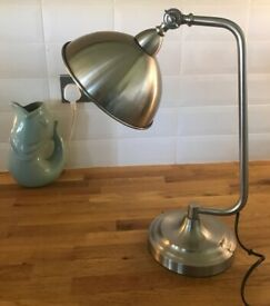 COX AND COX CHROME SILVER DESK OR TABLE LAMP, tiltable