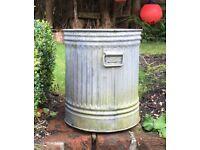 Galvanised vintage bin