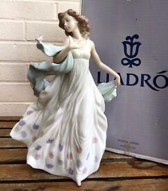 LLADRO -SUMMER SERENADE- FIGURE MODEL 6193 GIRL LADY WOMAN DRESS VEIL BIRD BOXED