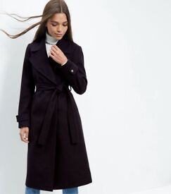 New Look Women's Blue Navy Wide Collar Wrap Front Longline Coat Brand New with Tags and Bag
