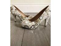 Womens Rhinestone White High Heel Pumps Wedding Bridal Party UK Size 3.5