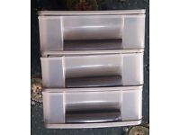 3 Drawer Grey with Black Storage Tower Desk Organiser Tidy A4 Paper Letter Trays
