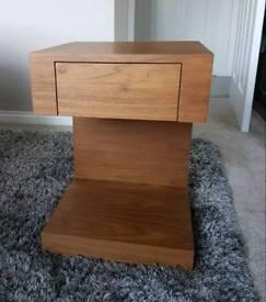 Dwell Seattle Bedside Table with Drawer in Walnut Veneer