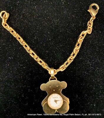 - TOUS Gold Plated Bracelet 7' with Charm (Bear Watch) USED