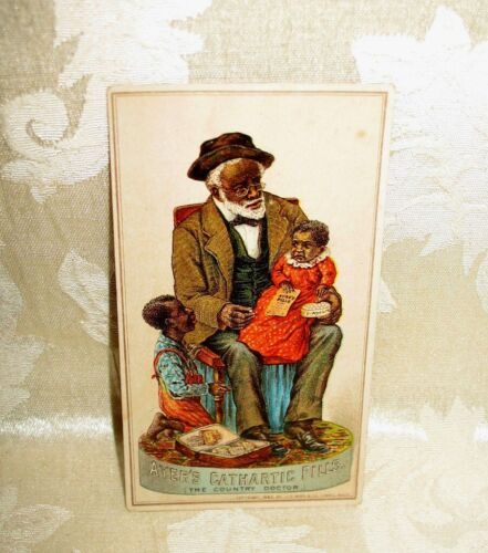 "Victorian Black Americana Trade Card advertising ""Ayers Pills"" 1883 Copyright"