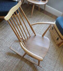 Vintage 1960 Blonde Elm & Beech ERCOL Goldsmith Rocking Chair Midcentury