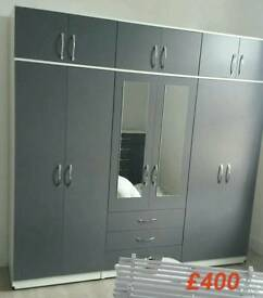 Massive 7ft High Wardrobe Fitment In Grey
