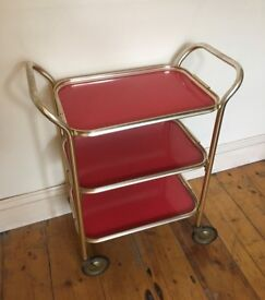 Vintage Red and Gold Tea Trolley/Bar Cart