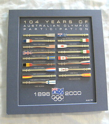 Yy. Mounted Set Of 17 Australian Olympic Participation Pins, 1896 To 2000