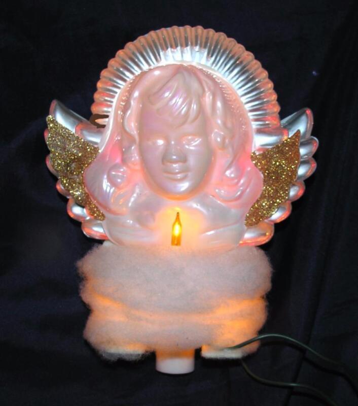 VTG  1970s ANGEL XMAS TREE TOPPER DOUBL GLO PEARLIZED PLASTIC w LIGHT iob