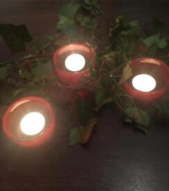 Red candle tea light holders