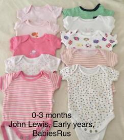 Baby girl 0-3 months vests