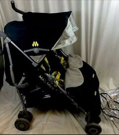 Maclaren twin techno citrus fabulous condition .. comes with everything & Carry cot £70