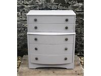***REDUCED*** Chest Of Drawers - Shabby Chic - Hand Painted in Annie Sloan Paloma Chalk Paint