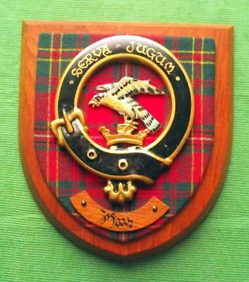 Vintage Old Scottish Carved Oak Clan HAY Tartan Plaque Crest Shield  x