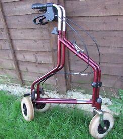 Rollator mobility Walker 3 wheels foldable zimmer walking aid light weight