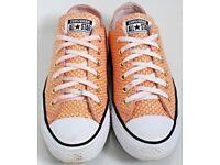 Women's Size 6 Converse Trainers - Peach / Salmon Snake Print