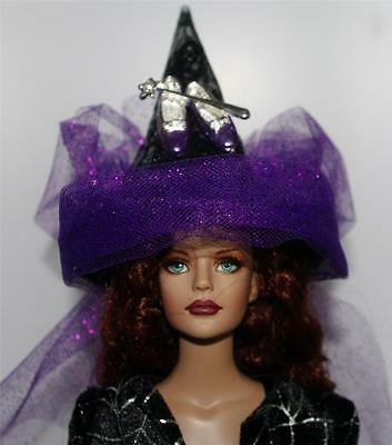 Witch Wands For Halloween (PURPLE SLIPPERS SILVER WAND Mini Salem Witch Hat #10 For Doll BottleTop)