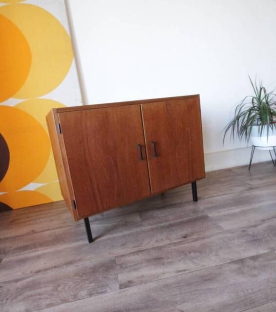 Retro Danish Parker Teak Record Cabinet Vintage Side Hall Table