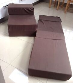 Foam chair-beds, x 2, can be sold separately