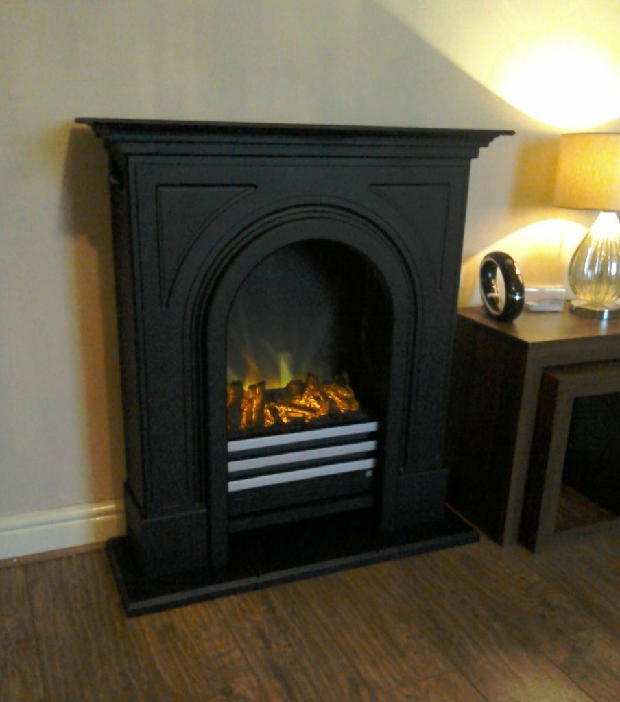 adam durham electric fireplace suite in black cast effect rrp 519