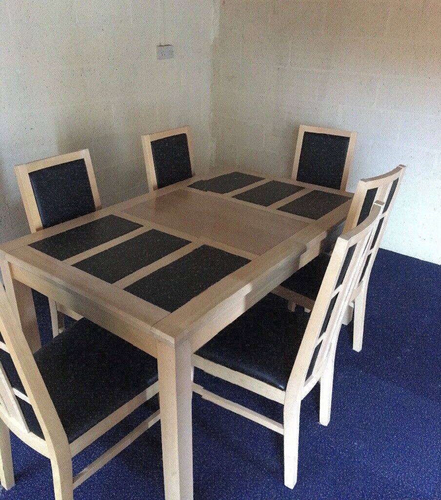 Dining Table Six Chairs And Matching Sideboard Light Beech With - Dining table with slate inlay
